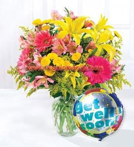 Get Well Balloon and Flower Bouquet
