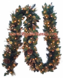 9 harvest gold garland with pine cones
