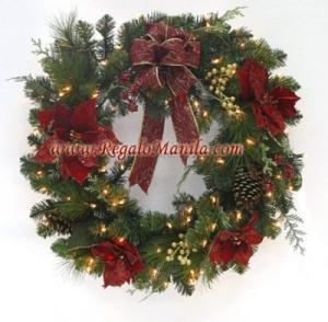 20 inches 100 light poinsettia wreath