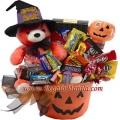Jack O Lantern with Teddy Bear Gift Basket