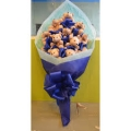 12 pc Blue Themed Bear Bouquet