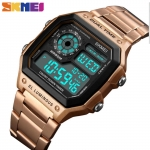 SKMEI 1335 Men's Waterproof Square Digital Chronograph Watch with EL Backlit - Gold