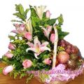 Pink Lily/roses With Fruits