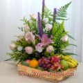 Pink Lily And Roses With Assorted Fruits